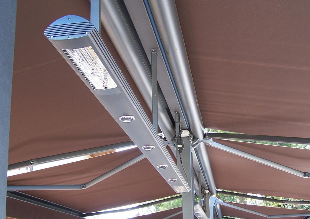 Awning LED spotlights & heating